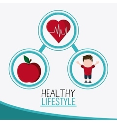 Boy apple heart healthy lifestyle design vector