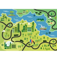 Cartoon map with river vector image vector image