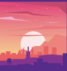 Colorful background of dawn landscape of city with vector