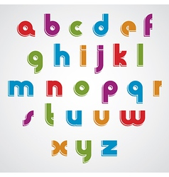 Colorful cartoon smooth font rounded lowercase vector
