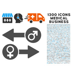 Gender exchange icon with 1300 medical business vector