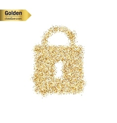 Gold glitter icon of padlock isolated on vector image