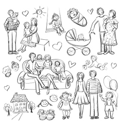 Hand drawn set with happy families vector