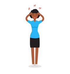 headache girl high blood pressure concept vector image vector image
