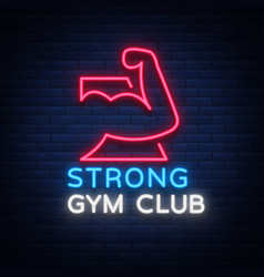 logotype gym sign in neon style isolated vector image