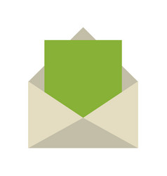 Message with outcoming green paper icon image vector