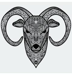 Ornamental head of goat or sheep - a symbol of new vector