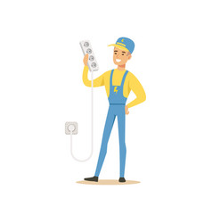 Professional electrician man character standing vector