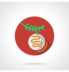 Red round icon for Xmas bauble vector image