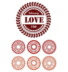 Red vintage stamps for Valentine day vector image vector image