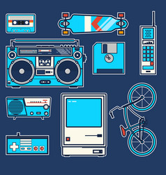 Retro elements bicycle phonecomputer diskette vector