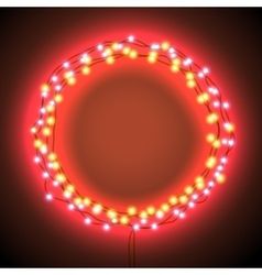 Round frame with garlands and lights vector image vector image