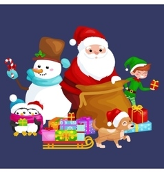 Santa Claus sack full of gifts snowman candy vector image vector image