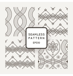 Set of seamless patterns with braids ropes vector