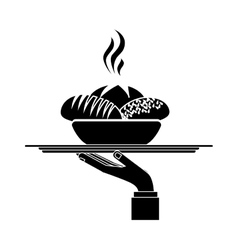 Silhouette monochrome dish with hot bread in tray vector