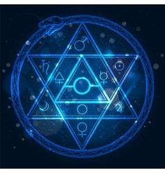 Star of David and uroboros sign vector image vector image