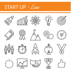 Start-up project- outline web icon set vector