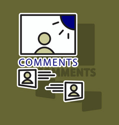 sticker self photo concept comments on the photo vector image