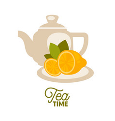 Tea kettle with lemons on saucer isolated on white vector