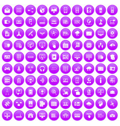 100 database and cloud icons set purple vector