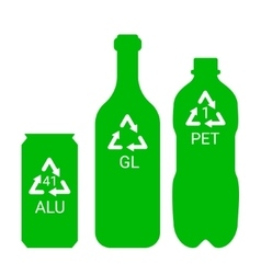 Recycle garbage - plastic aluminium glass - vector image