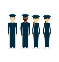Students graduated group icon vector