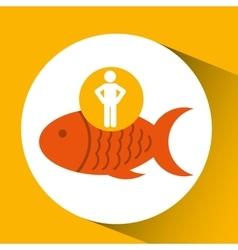 Silhouette man fish nutrition healthy vector