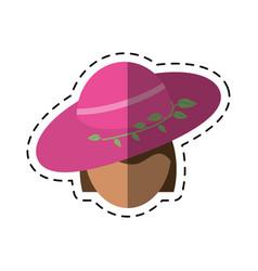 Cartoon women day face woman pink hat vector