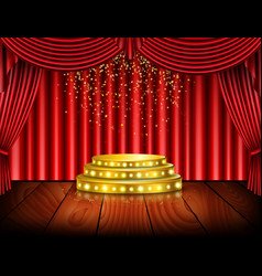 Empty stage with red curtain background vector
