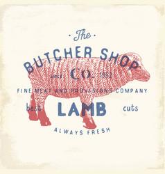 Butcher shop vintage emblem lamb meat products vector