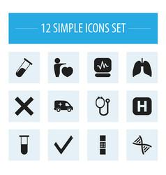 Set of 12 editable health icons includes symbols vector