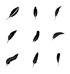 black feather icons set vector image