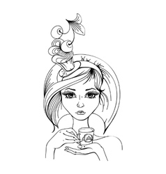 Stylized woman with a cup of coffee vector