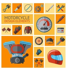 Motorcycle parts set vector