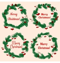 Christmas wreaths with holly berries and cones vector