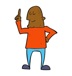 Comic cartoon man pointing finger vector