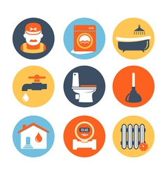 Plumbing and engineering icons set vector image