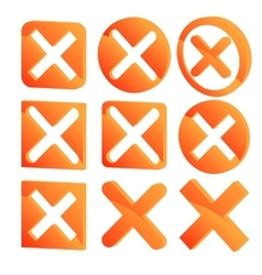 Various three dimensional x marks 3D Cross marks vector image