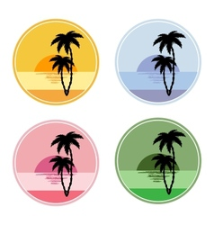 Icon with sun and palm trees vector