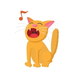 Singing cat icon cartoon style vector