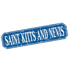 Saint kitts and nevis blue square grunge retro vector