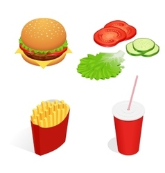 Isometric food burger vector