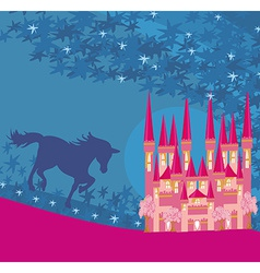 Abstract image of a pink castle and unicorn vector