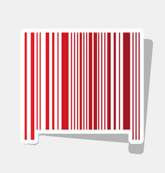 Bar code sign new year reddish icon with vector