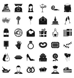 cake icons set simple style vector image vector image