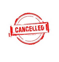 Cancelled rubber stamp on white vector image