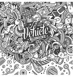 Cartoon cute doodles vehicle frame vector