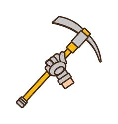 Cartoon pickaxe tool mining extraction glove vector