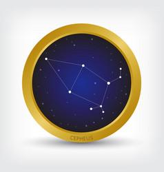 Cepheus constellation in golden circle vector