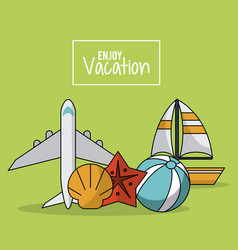 Colorful poster of enjoy vacation with airplane vector